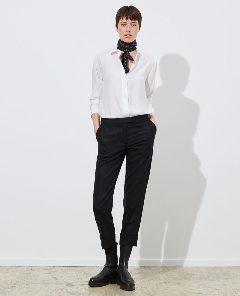 Pantalones MARGUERITE, 7/8 tapered de lana Night sky Mokoy