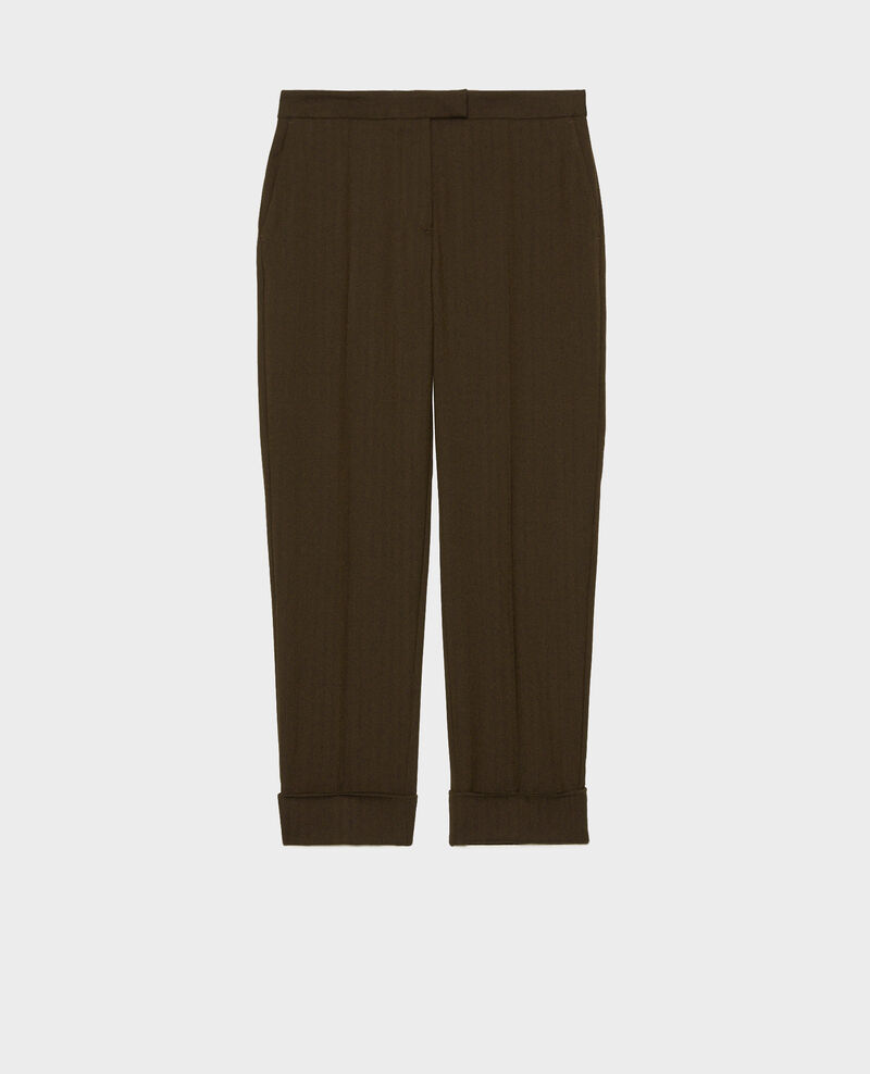 Pantalones MARGUERITE, 7/8 tapered de lana  Military green Mokita