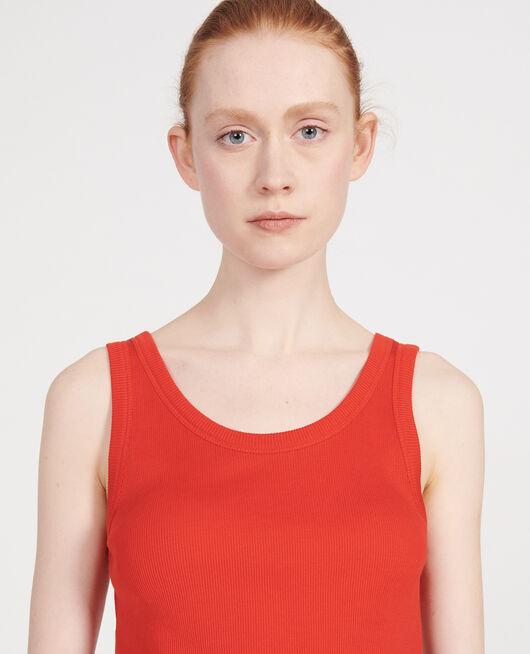 Camiseta de tirantes de algodón mercerizado con canalé FIERY RED