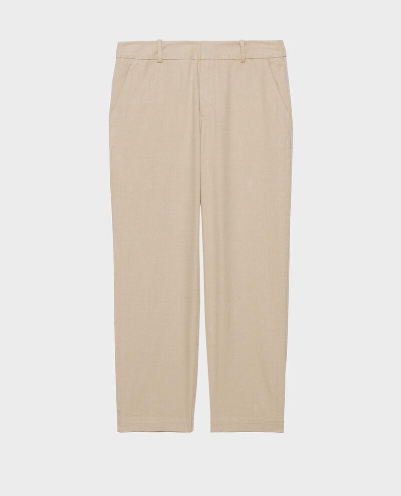 Pantalón MARGUERITE de lino y algodón con longitud 7/8 Oxford tan Laiguillon