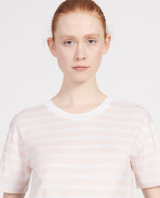 Camiseta de algodón egipcio STRIPES PRIMROSE PINK OPTICAL WHITE