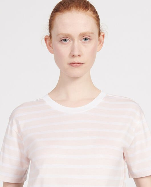 Camiseta de algodón STRIPES PRIMROSE PINK OPTICAL WHITE