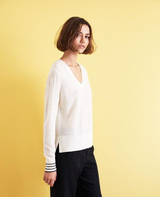 Pull fin en laine merinos OFF WHITE