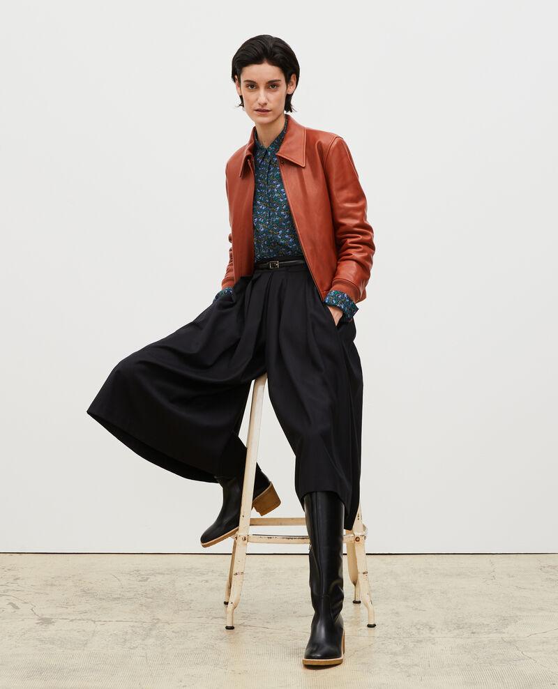 Falda pantalón de lana y cachemir con pinzas Black beauty Marby