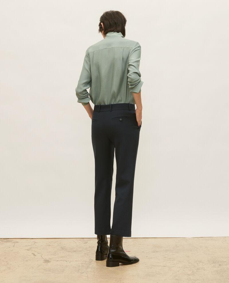 Pantalón masculino de lana lisa Dark navy Lalye