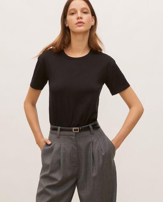 Camiseta de algodón con cuello redondo y manga corta BLACK BEAUTY