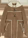 Peau lainée style duffle coat à capuche amovible
