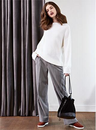 Look - Jersey de lana y alpaca, Pantalón, Sneakers de cuero
